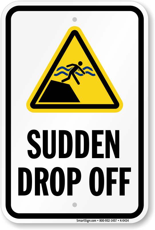 Sudden drop off warning sign sku k2 0434 for Where can i drop off used motor oil
