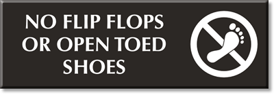 No Open Toed Shoes Signs Closed Toe Shoes Only
