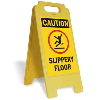 Caution Slippery Floor Fold Ups Standing Floor Sign Sku