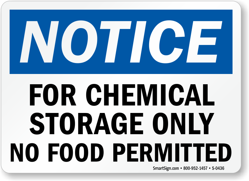 Chemical Storage Area Signs Free Shipping
