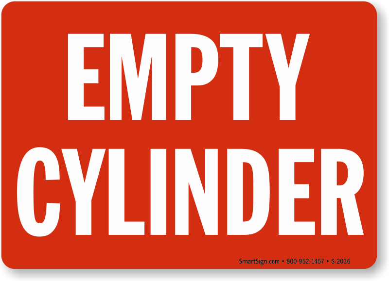 Empty Cylinders Signs Do Not Use Cylinders Sign