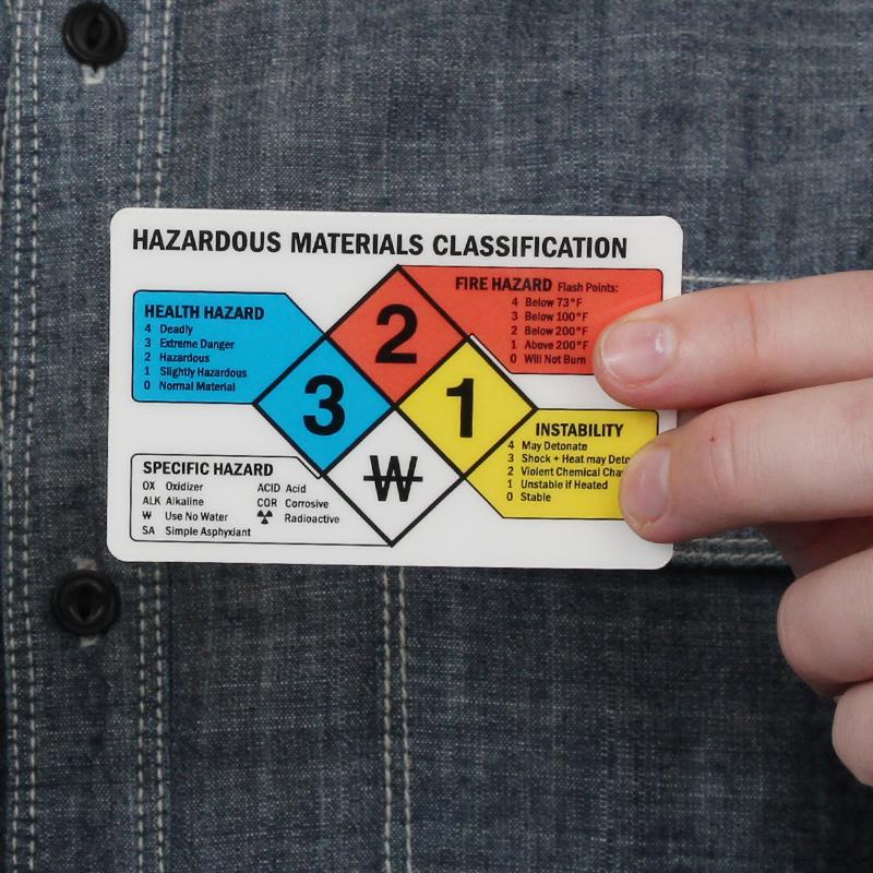 Hazardous Material Diamond: Hazardous Materials Classification NFPA 2-Sided Wallet