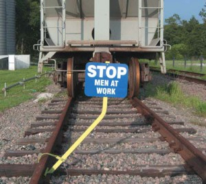 Stop Men Working railroad sign