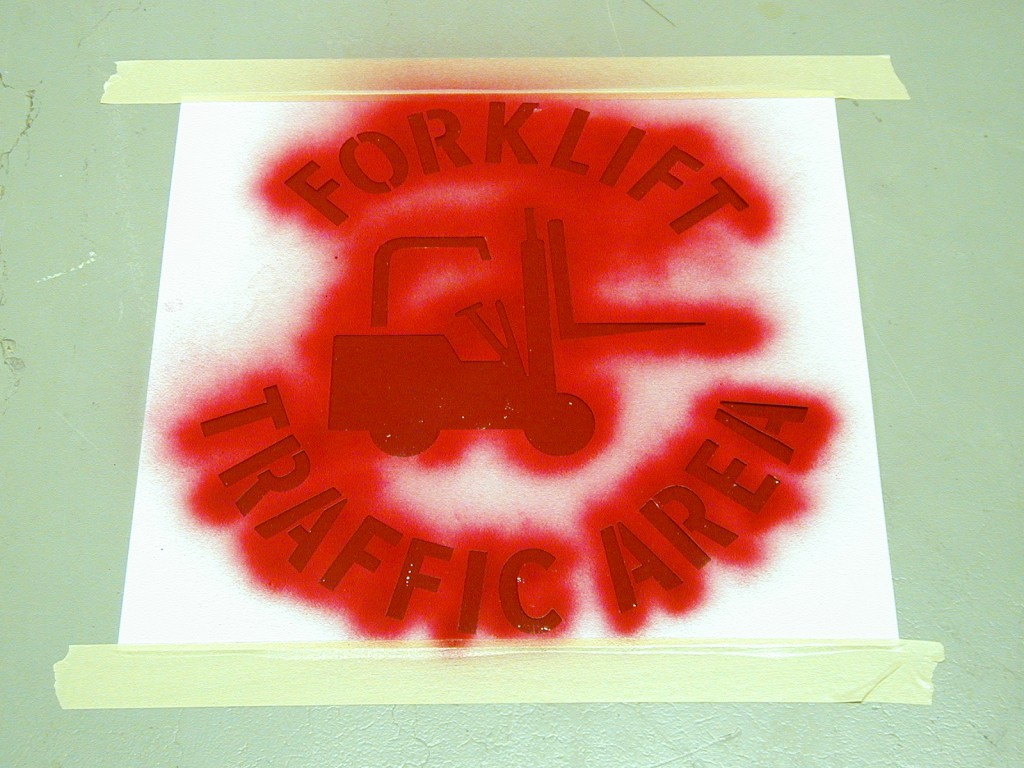 forklift stencil spray painted