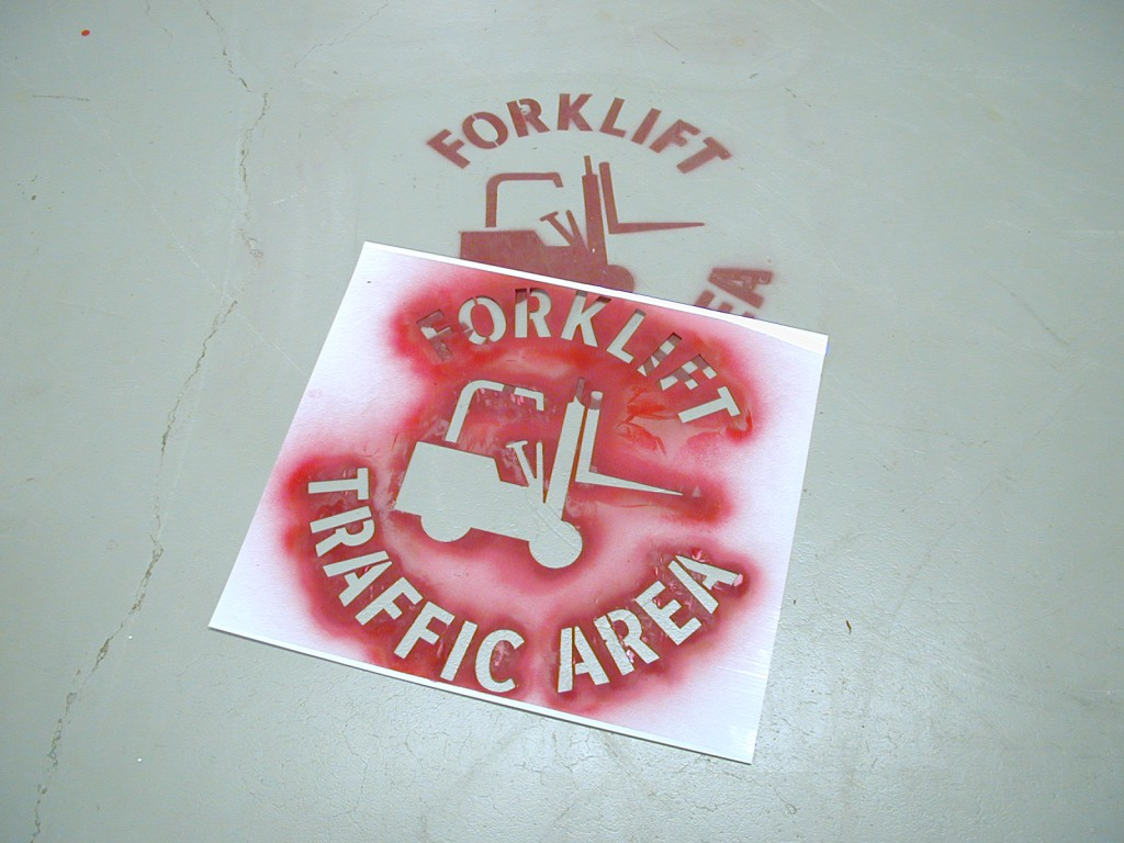 forklift stencil paint drying