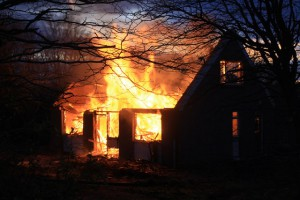 photo of home in flames