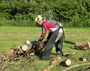 photo of safety gear and chain saw