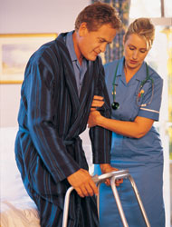 photo of nurse with patient and walker