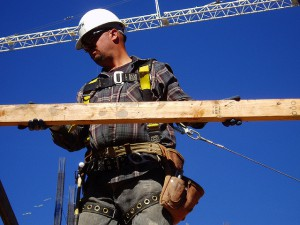 photo of worker with fall protection