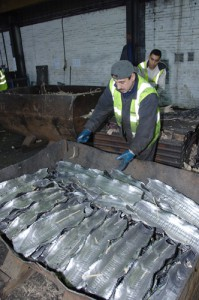 Workers at lead recycling plants are one group that faces a risk of increased blood lead levels. (Photo via http://www.universalrecyclingcompany.co.uk)