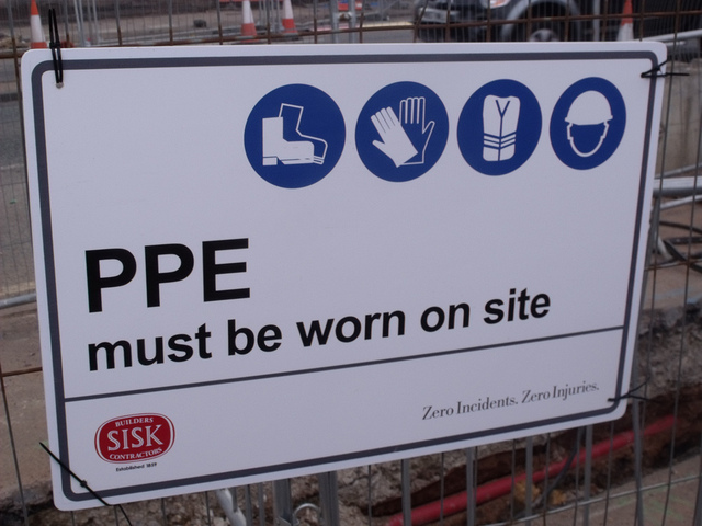 photo of ppe sign