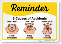 Safety Reminder Sign with Pigs Graphic