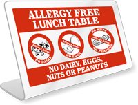 No Peanuts Table-top Sign