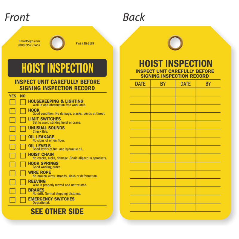 Hoist inspection Tag