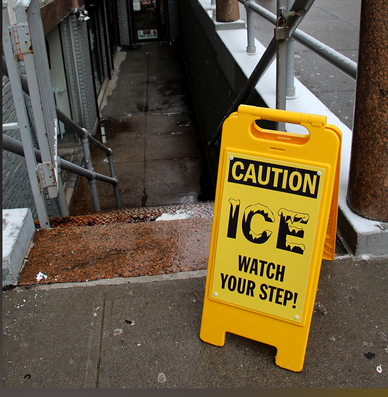 Caution Ice Standing Sign