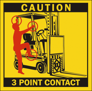 Caution 3 Point Contact Sign
