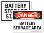 Battery Storage Signs