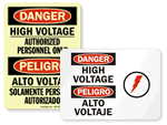 Bilingual High Voltage Signs