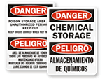 Bilingual Warehouse Signs