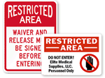 Custom Restricted Area Signs