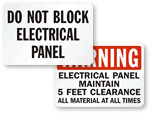 Do Not Block Electrical Panel Signs