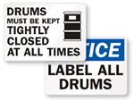 Drum Storage Signs