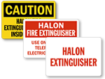 Halon Fire Extinguisher Signs