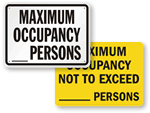 Maximum Occupancy Signs
