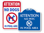 No Dog Allowed in Pool Area Signs