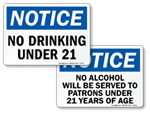No Drinking Under 21 Signs