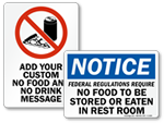 No Food in Restroom Signs