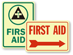 Photoluminescent First Aid Signs