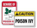 Poison Ivy and Poison Oak Warning Signs