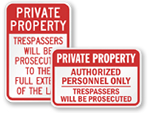 Private Property Authorized Personnel Only Signs