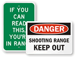 Shooting Range Signs