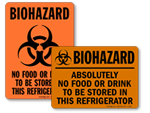 Biohazard No Food or Drink in Refrigerator Stickers