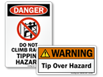 Tip Over Hazard Labels and Signs