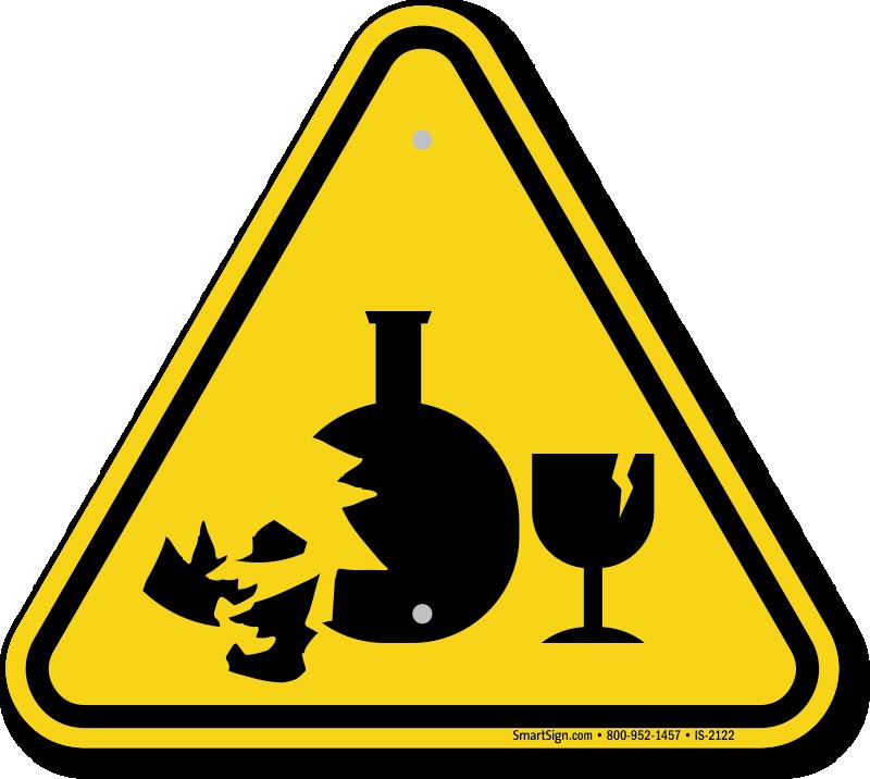 Broken Glass Hazard Symbol Iso Warning Sign Sku Is