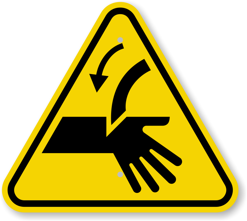 Iso Cutting Of Fingers Or Hand Curved Blade Warning Sign Symbol