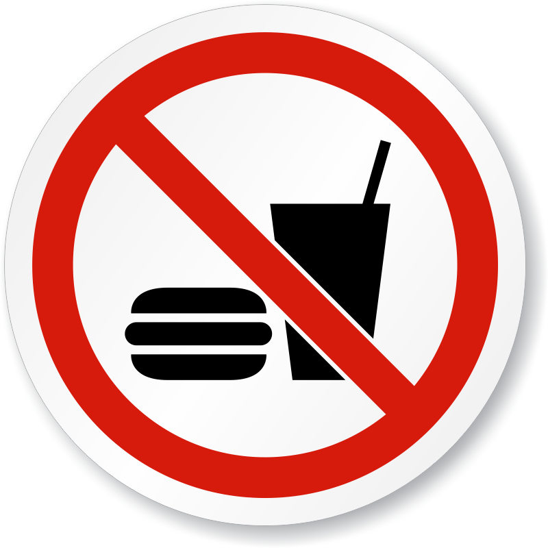No Eating Or Drinking Symbol - ISO Prohibition Sign, SKU ...