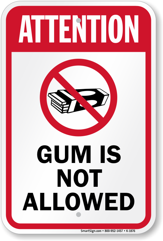 Image result for no gum chewing
