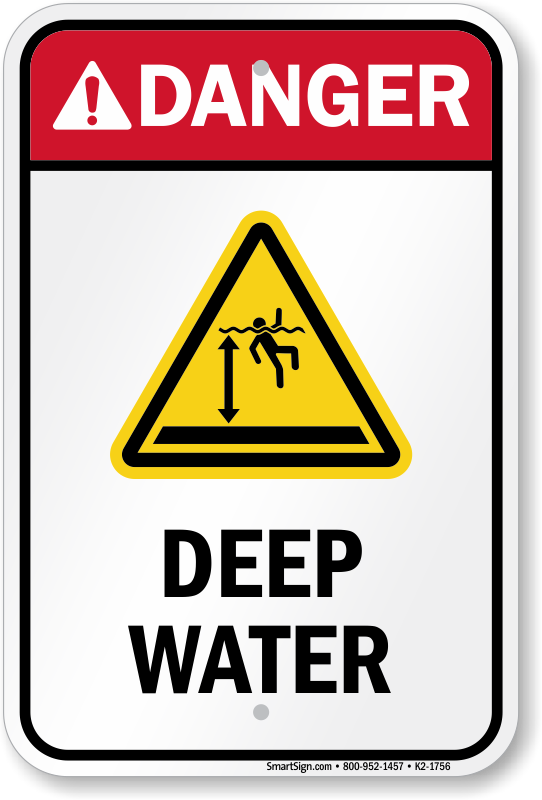 Sign or Sticker All Sizes Available Safety Danger Deep Water Swim Water