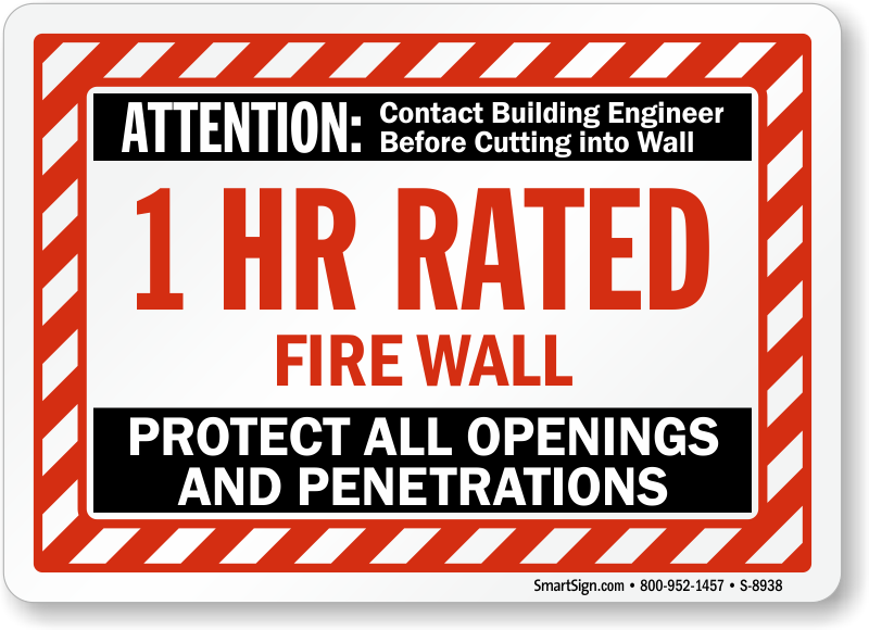 Fire Wall Signs Fire Barrier Signs Smoke Wall Signs