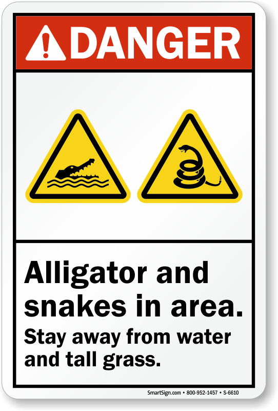 alligator and snakes in area sign sku s 6610 mysafetysign com