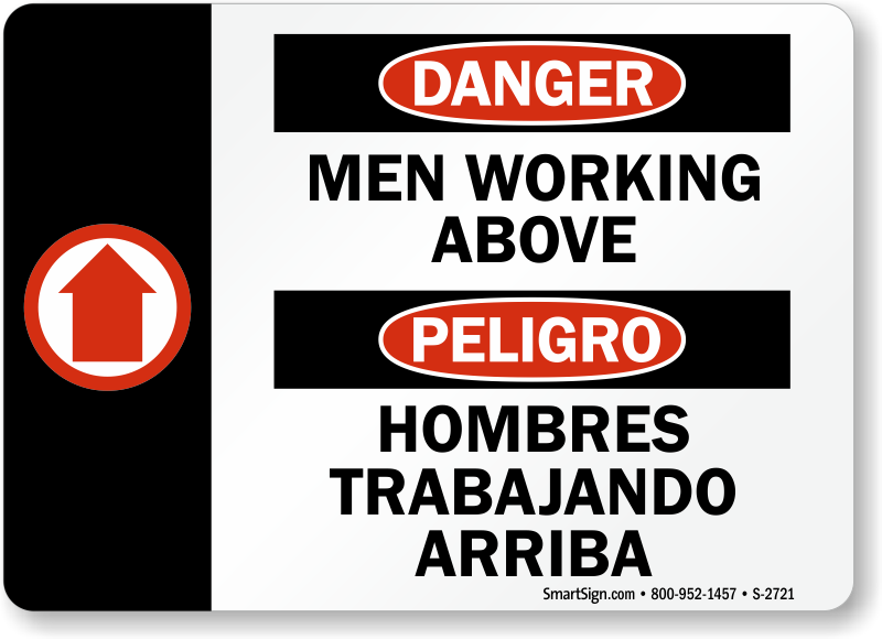 Bilingual men working above sign hombres trabajando arriba sku s bilingual men working above sign hombres trabajando arriba sku s 2721 mysafetysign sciox Gallery