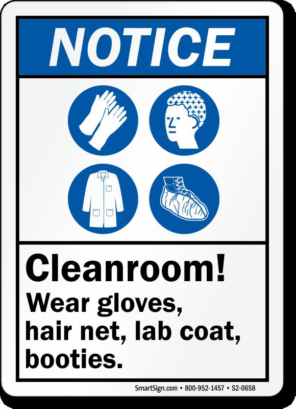 Cleanroom Wear Gloves Hair Net Lab Coat Botties Sign Sku S2