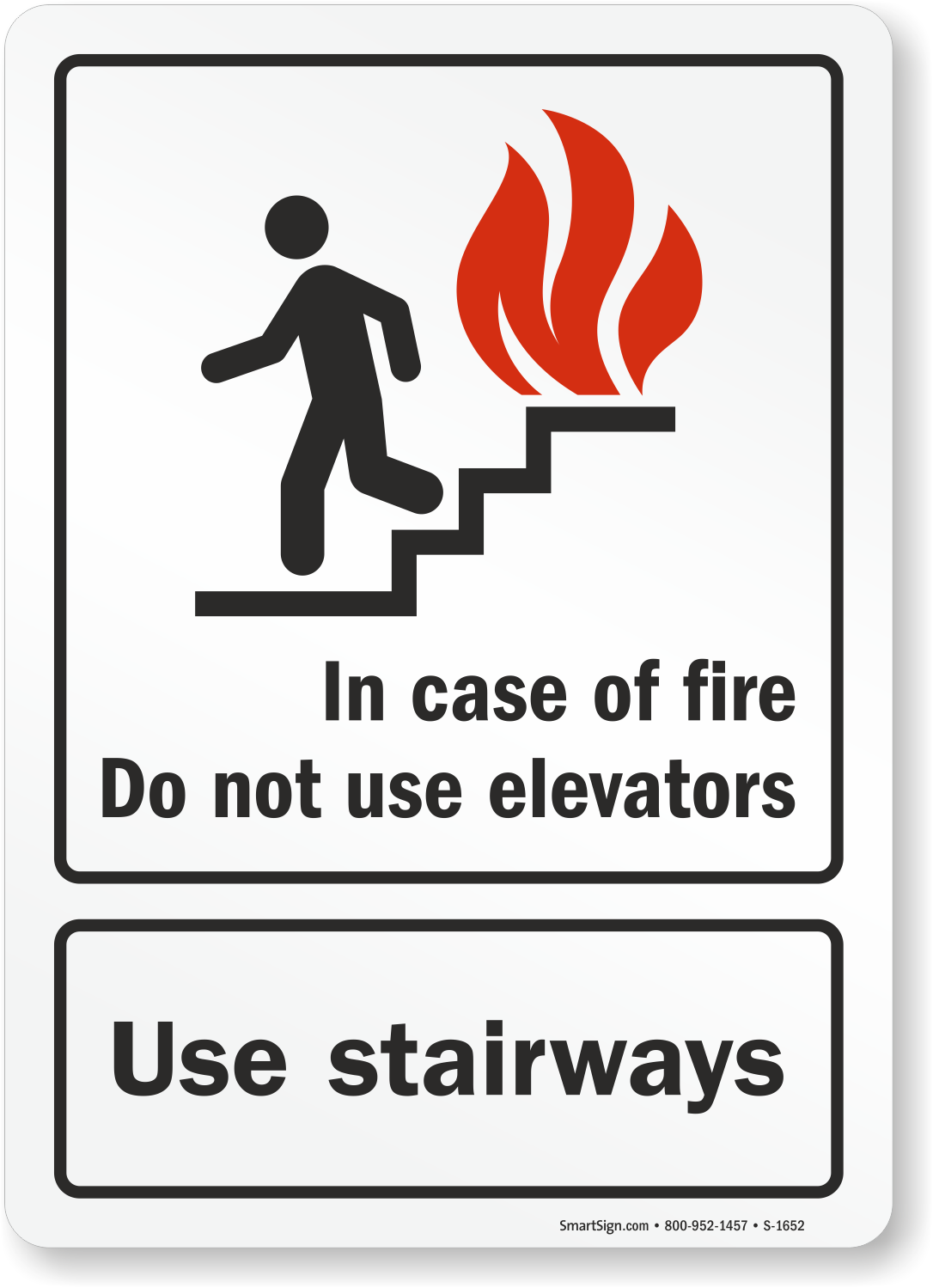 In Case Of Fire Do Not Use Elevators Sign With Graphic