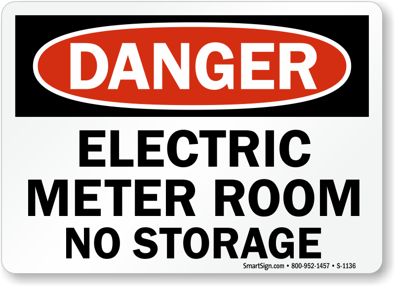 Electric Meter Cans Sign : Electrical room signs mysafetysign