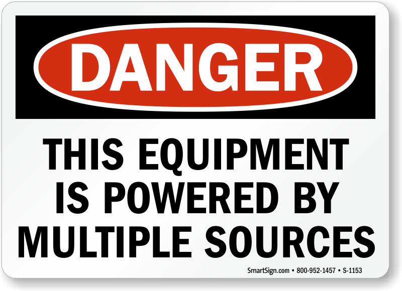Multiple Power Source Signs | Multiple Source Warning Signs on electrical panel identification, electrical panel box labels, electrical circuit panel, electrical panel breakers,