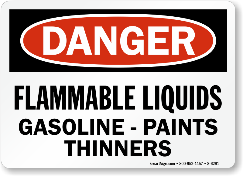 Flammable Liquids Gasoline Paints, Thinners Sign, SKU: S